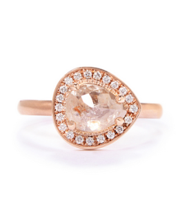 Anne Sportun Pear-Shaped Diamond Ring in Rose Gold