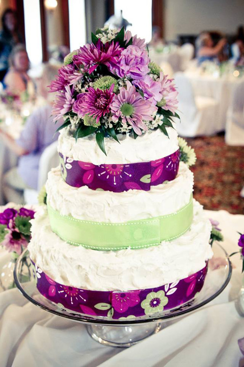 Purple-and-Green Wedding Cake